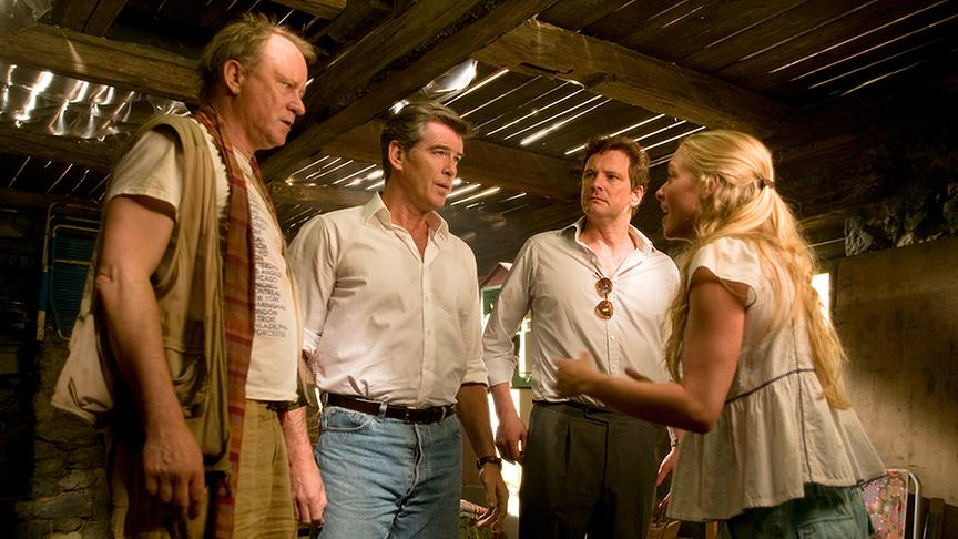 Im Bild: Stellan Skarsgard (Bill), Pierce Brosnan (Sam Carmichael), Colin Firth (Harry Bright), Amanda Seyfried (Sophie).