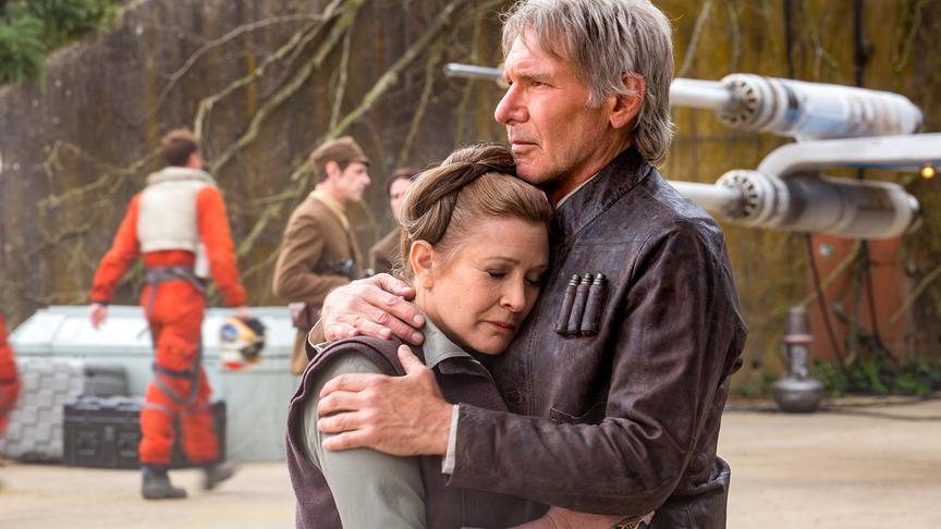 Carrie Fisher (Leia Organa), Harrison Ford (Han Solo).